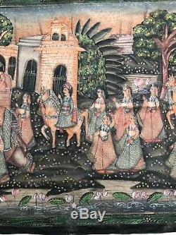 Vintage Peinture Indienne. Gouache / Toile Massive. Poème Épique Hindou. De Varanasi