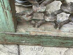 Vintage Petit Teck Indien Fenêtre En Fer En Bois Jali Écran Sauvé Au Rajasthan 2