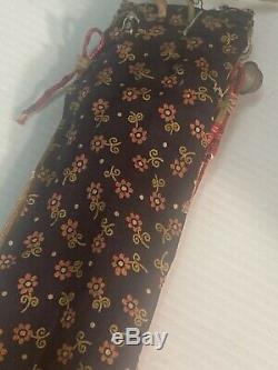 Vintage Sioux Plains Indian Quilled Homme Cheveux Tie Brass Bells + Parfleche