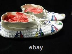 Vintage Southern Cheyenne Indian Mocassins Perlée Pictorial / Etats-unis Drapeau