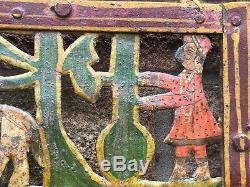 Vintage Steel Panneau Jali Indien Mur Peint Elephant Tiger Cheval Suspendu Un Art