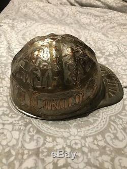 Vintage Très Gravé Hard Hat Conoco Caire Eqypt Main Sculpté