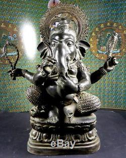 Vintage Vieux Grand Ganesha Bronze Statue. 15 Pouces De Hauteur