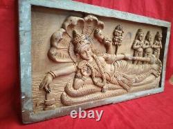 Vintage Vishnu Wall Panel Hindu Temple Statue En Bois Murti Sculpture Plaque Art