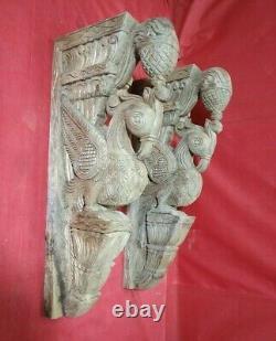 Vintage Wall Corbel Paire En Bois Bracket Bird Peacock Statue Maison Décor Rare Art