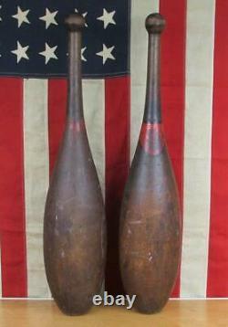Vintage Wood Indian 1890. Club Énorme! L'exercice Pins 27 Gym Grand Antique Décor