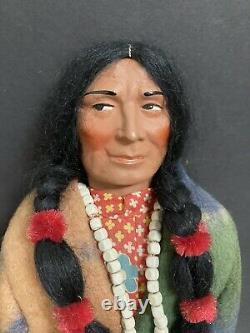 Vinture Antique Des Années 1930 Skokum Indian Doll Bully Good Mint En Box Original -16