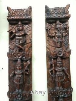 Vishnu Avatar Dashavatar Wall Vertical Panel Paire Hindu God Panneau Vintage Statue
