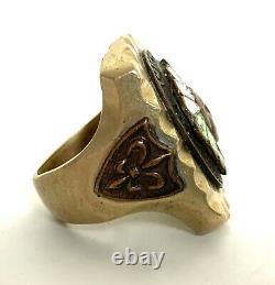 Vtg 1940s/1950s Mexican Biker Ring Sz 9 Vieux Pion Indian Chief Antique Souvenir