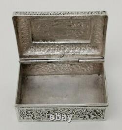 Vtg C1900 Colonial Indian Ceylan Solid Silver Trinket Coffre Bijoux 101g
