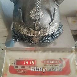 Vtg Mughal Islamic Argent Damascened Devil Horn Fer Khula Khud Casque Chaînemail