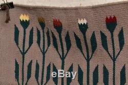 Vtg Tissage Textile Américain Indigène Tapis Indien Navajo 27x22 Antique Pictorial